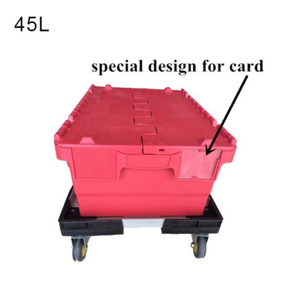 black plastic storage bins